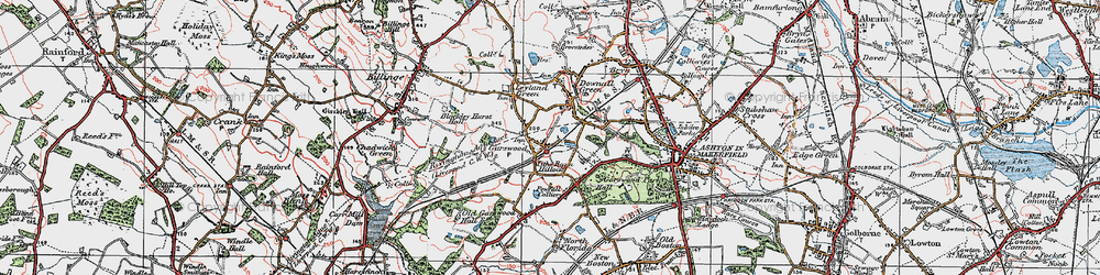 Old map of Tithe Barn Hillock in 1924
