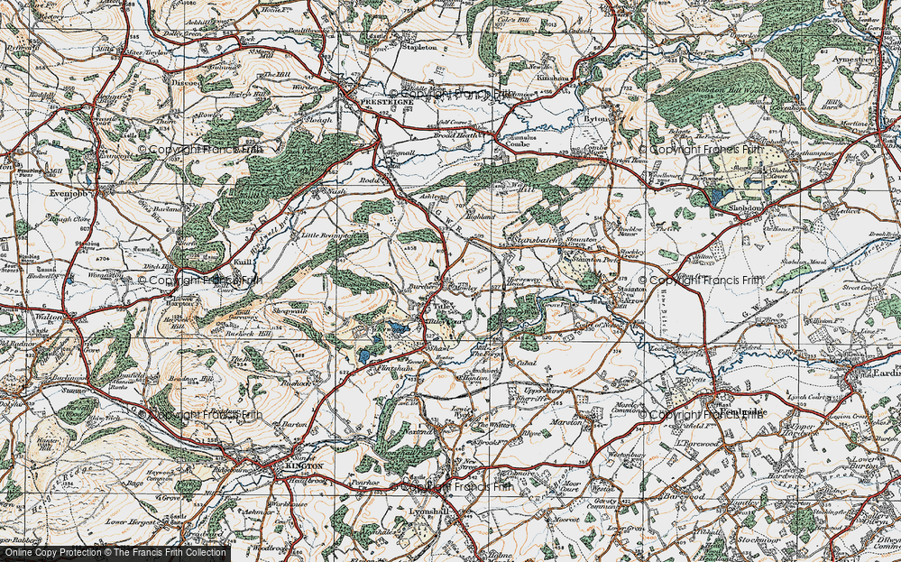 Old Map of Titley, 1920 in 1920