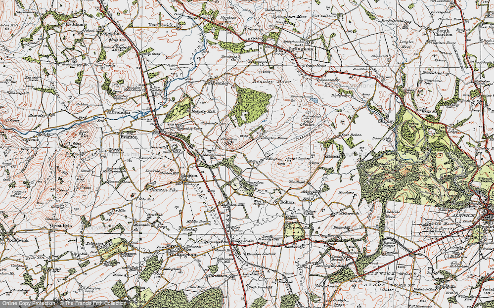 Old Map of Historic Map covering Titlington Mount in 1926