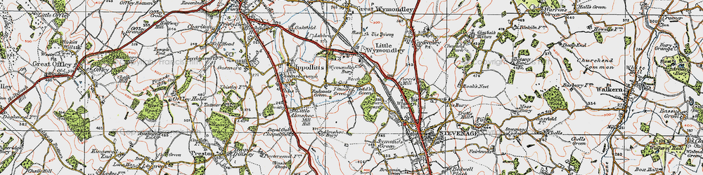 Old map of Titmore Green in 1919