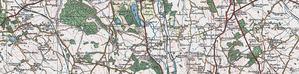 Old map of Tittensor in 1921