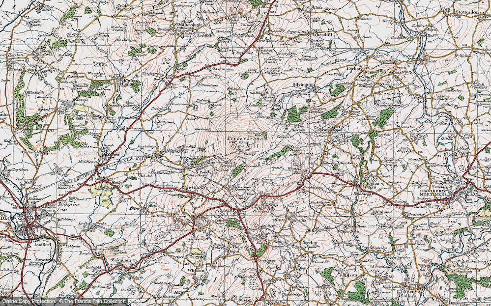 Old Map of Titterstone Clee Hill, 1921 in 1921