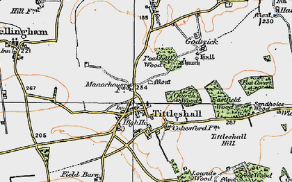 Old map of Tittleshall Hill in 1921