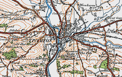 Old map of Tiverton in 1919