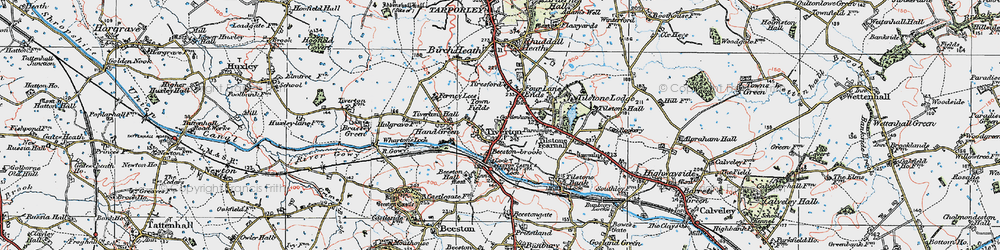 Old map of Tiverton in 1923