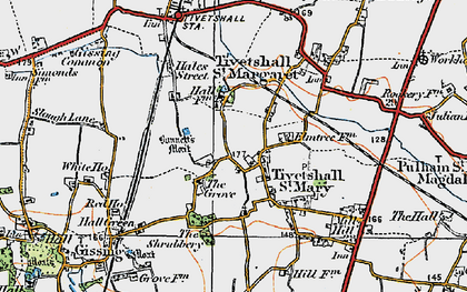 Old map of Tivetshall St Margaret in 1921