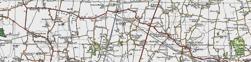 Old map of Tivetshall St Mary in 1921