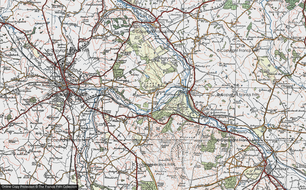 Old Map of Tixall, 1921 in 1921