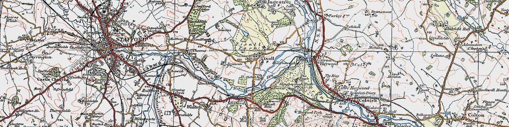 Old map of Tixall in 1921