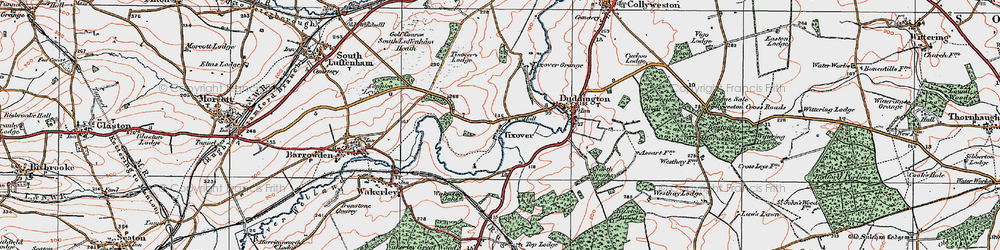 Old map of Tixover in 1922