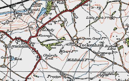 Old map of Tockenham in 1919