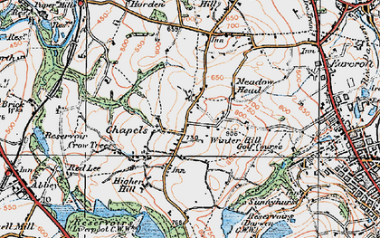 Old map of Tockholes in 1924