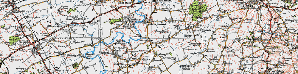 Old map of Todber in 1919