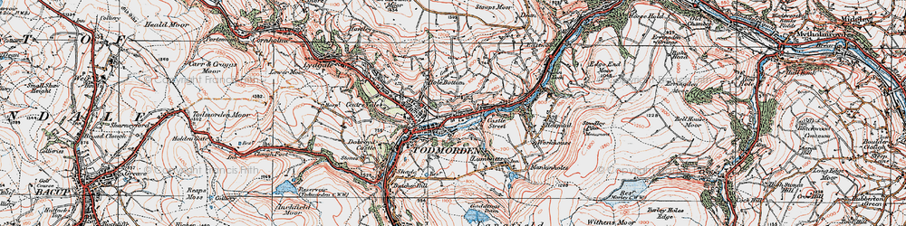 Old map of Todmorden in 1925