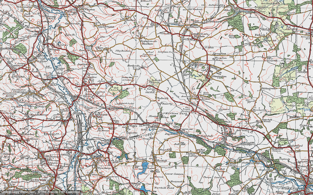 Old Map of Historic Map covering Todwick Grange in 1923