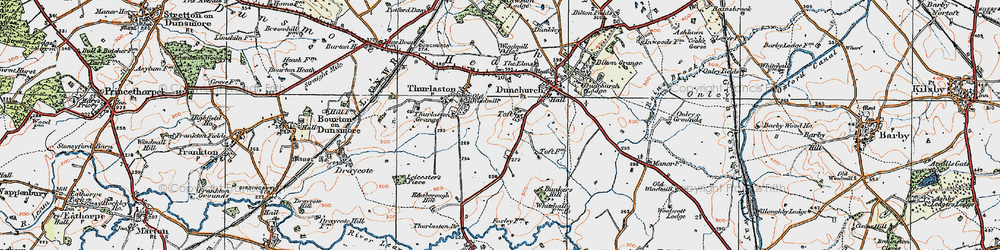 Old map of Toft in 1919