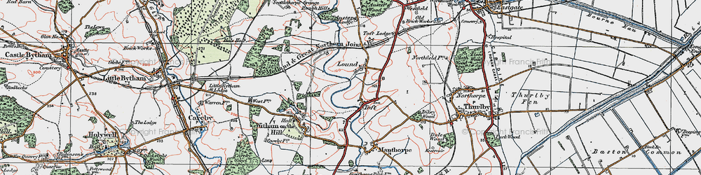 Old map of Toft Lodge in 1922