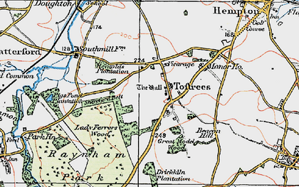 Old map of Toftrees in 1921