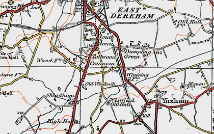 Old map of Toftwood in 1921