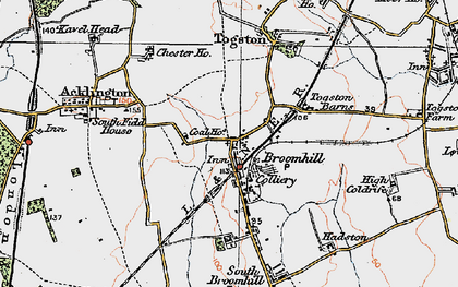 Old map of Togston in 1925