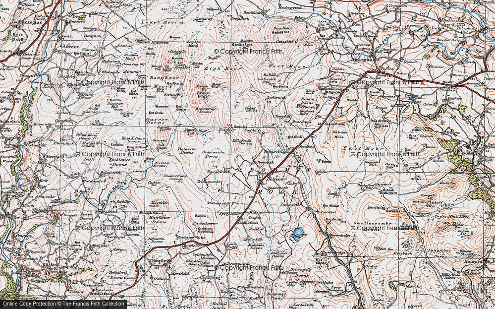 Old Map of Historic Map covering Tolborough Tor in 1919