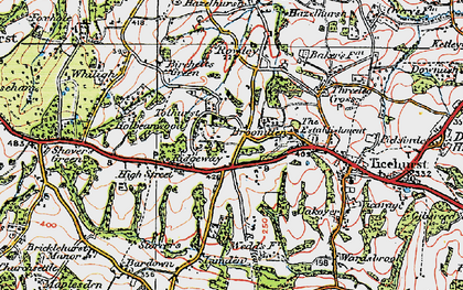 Old map of Ticehurst Ho in 1920
