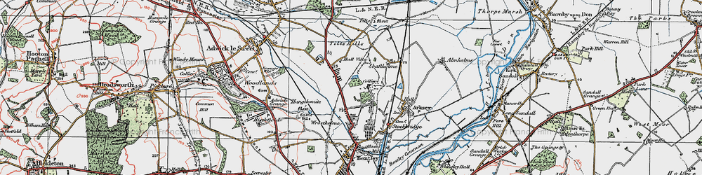 Old map of Toll Bar in 1923