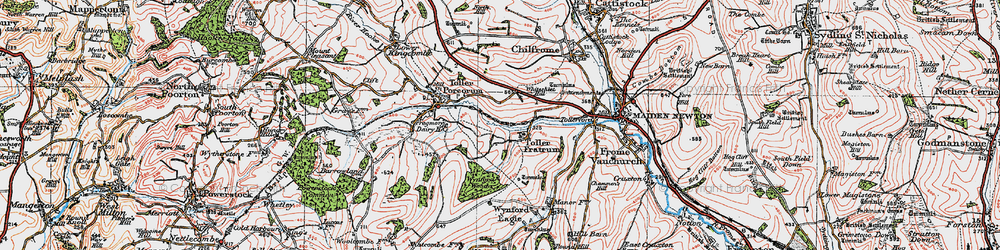 Old map of Toller Fratrum in 1919