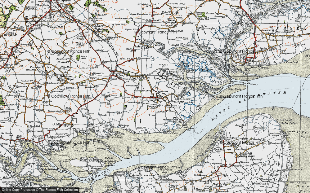 Old Map of Historic Map covering Tollesbury Fleet in 1921