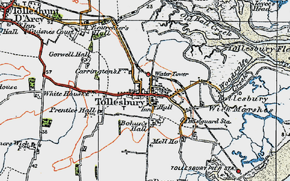 Old map of Tollesbury Wick Marshes in 1921