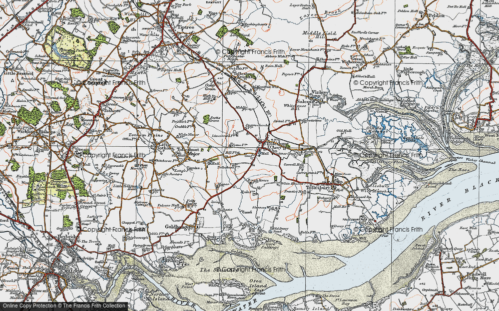 Old Map of Tolleshunt D'Arcy, 1921 in 1921