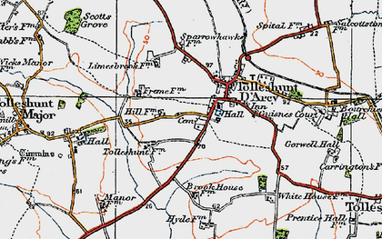 Old map of Tolleshunt D'Arcy in 1921