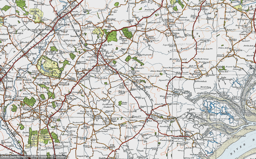 Old Map of Tolleshunt Knights, 1921 in 1921