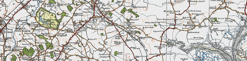 Old map of Tolleshunt Knights in 1921