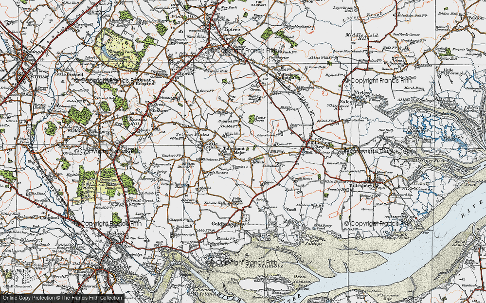 Old Map of Tolleshunt Major, 1921 in 1921
