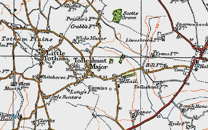 Old map of Tolleshunt Major in 1921