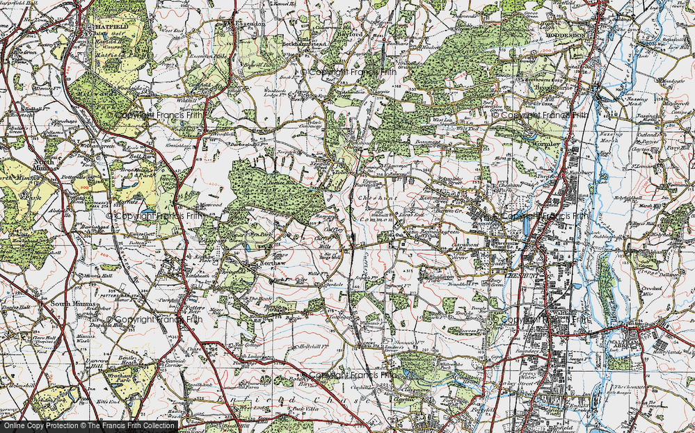 Old Map of Tolmers, 1920 in 1920