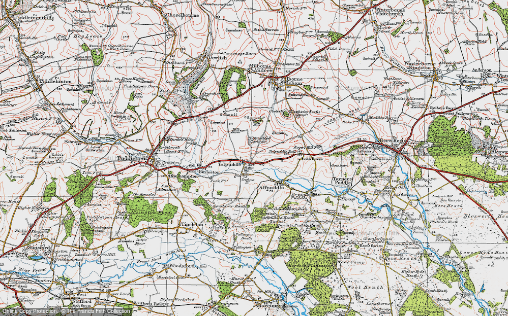 Old Map of Tolpuddle, 1919 in 1919
