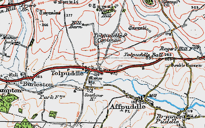 Old map of Tolpuddle in 1919
