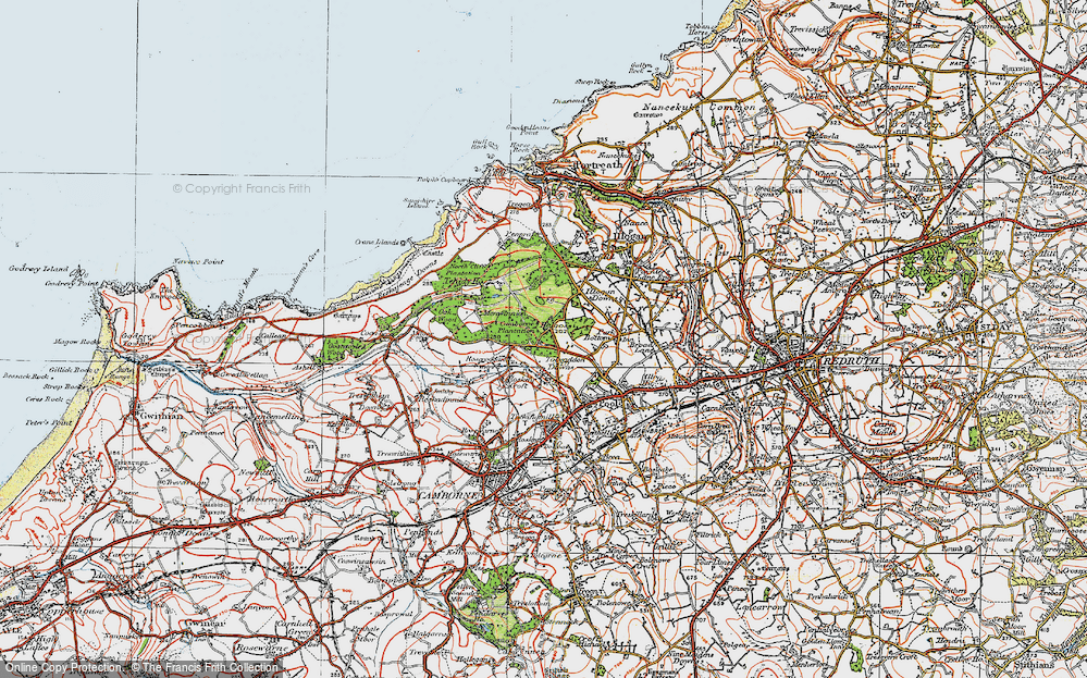 Old Map of Tolvaddon Downs, 1919 in 1919