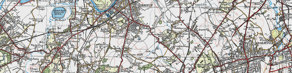 Old map of Tolworth in 1920