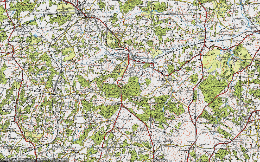 Old Map of Historic Map covering Ashdown Park (Hotel) in 1920