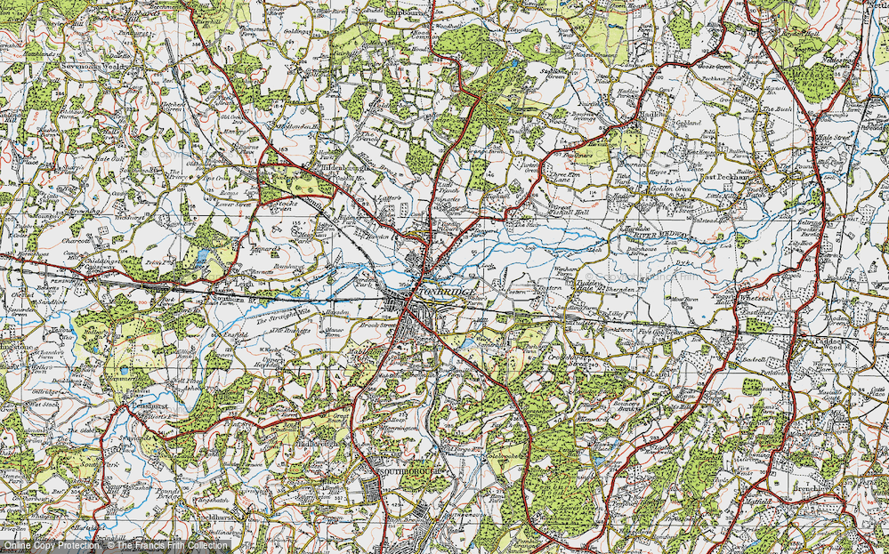 Old Map of Tonbridge, 1920 in 1920