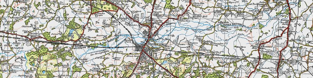 Old map of Tonbridge in 1920
