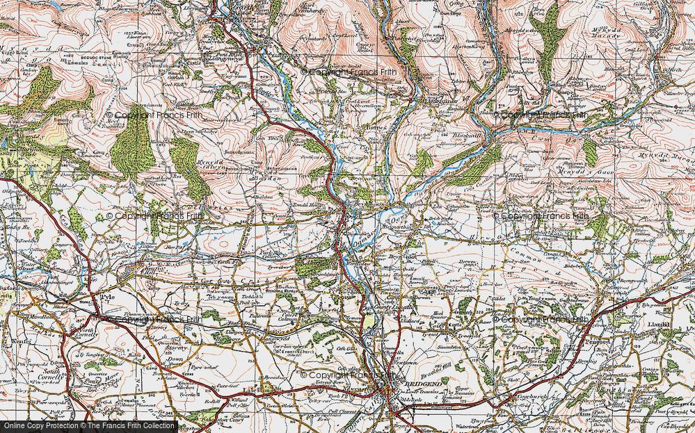 Old Map of Tondu, 1922 in 1922