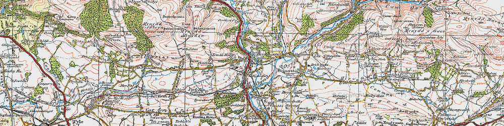 Old map of Tondu in 1922