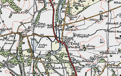 Old map of Tong in 1921