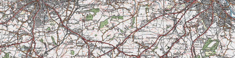 Old map of Leeds Country Way in 1925