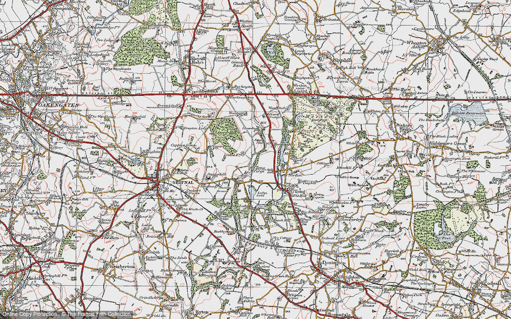 Old Map of Tong Forge, 1921 in 1921
