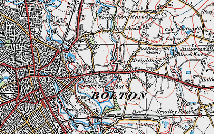 Old map of Tonge Fold in 1924
